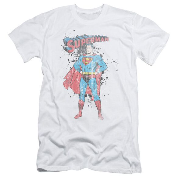 Superman Vintage Ink Splatter Short Sleeve Adult T-Shirt