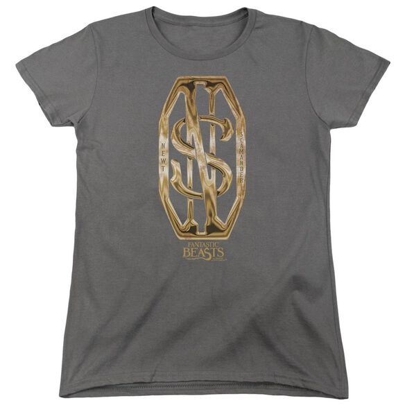 Fantastic Beasts Scamander Monogram Short Sleeve Womens Tee Charcoal T-Shirt