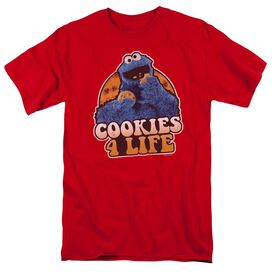 Sesame Street Cookies 4 Life Short Sleeve Adult Red T-Shirt