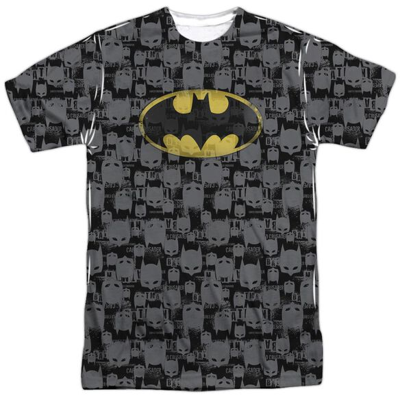 Batman Caped Crusader Repeat Short Sleeve Adult 100% Poly Crew T-Shirt
