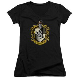 Harry Potter Hufflepuff Crest Junior V Neck T-Shirt
