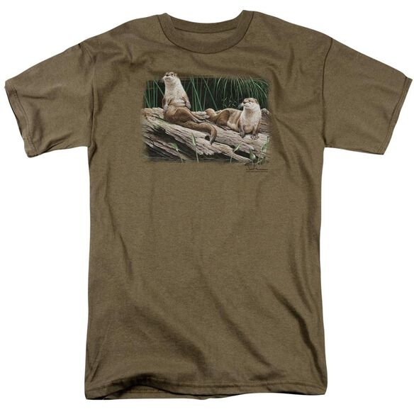 Wildlife River Otters Short Sleeve Adult Safari Green T-Shirt