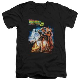 BACK TO THE FUTURE III POSTER - S/S ADULT V-NECK 30/1 - BLACK T-Shirt