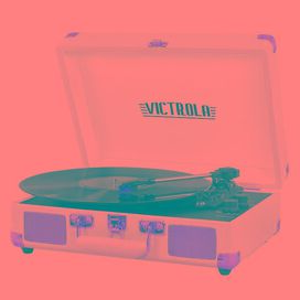 Portable Victrola Suitcase Record Player with Bluetooth and 3 Speed Turntable - Rose Gold/White