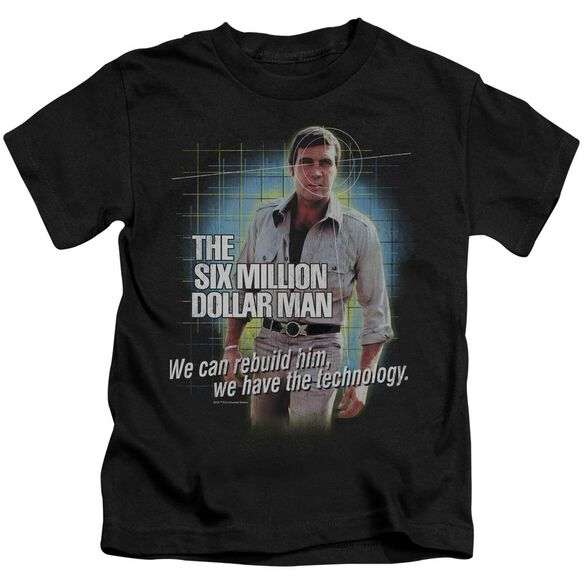 Six Million Dollar Man Technology Short Sleeve Juvenile Black T-Shirt