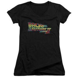 Back To The Future Ii Logo Junior V Neck T-Shirt