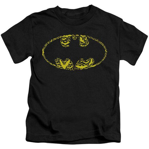 Batman Bats On Bats Short Sleeve Juvenile Black T-Shirt