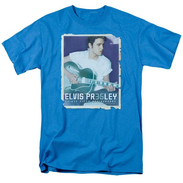Elvis 35 Guitar Short Sleeve Adult Turquoise T-Shirt