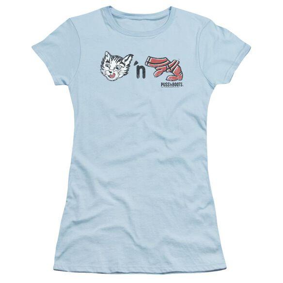 Puss N Boots Rebus Logo Short Sleeve Junior Sheer Light T-Shirt