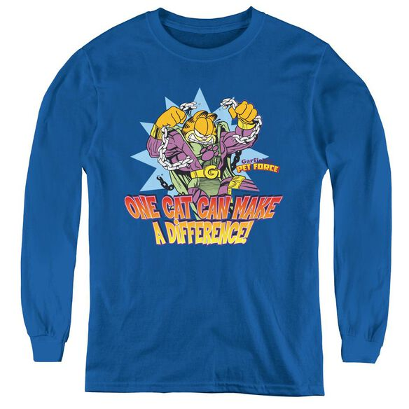 Garfield Make A Difference - Youth Long Sleeve Tee - Royal Blue
