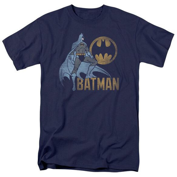 Batman Knight Watch Short Sleeve Adult Navy T-Shirt