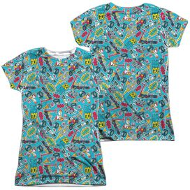 Teen Titans Go Pattern (Front Back Print) Short Sleeve Junior Poly Crew T-Shirt