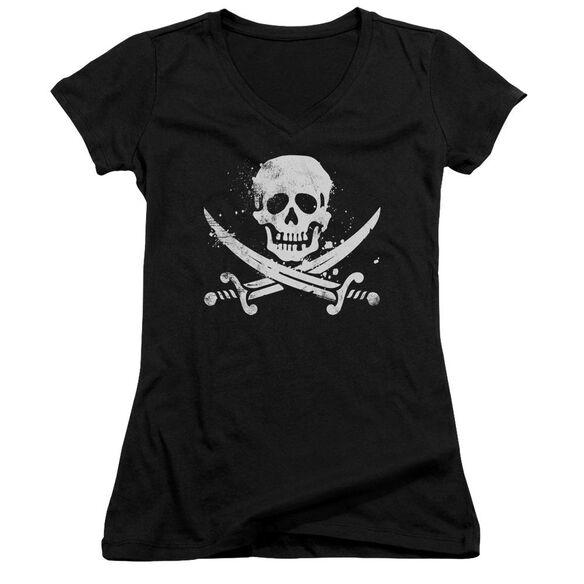 Distressed Jolly Roger Junior V Neck T-Shirt