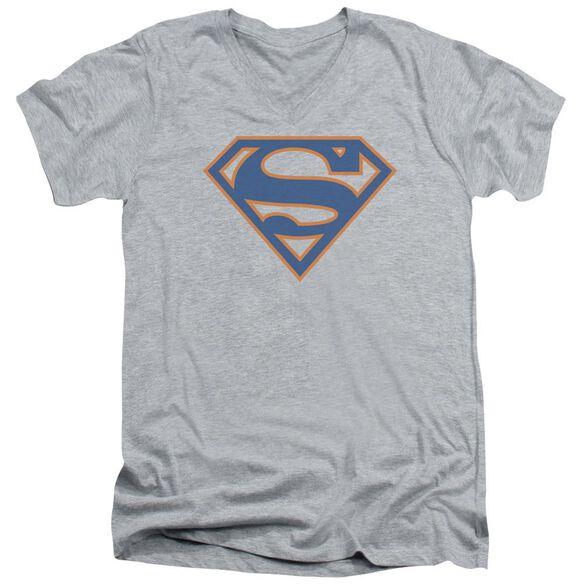 SUPERMAN BLUE & ORANGE SHIELD - S/S ADULT V-NECK - ATHLETIC HEATHER T-Shirt