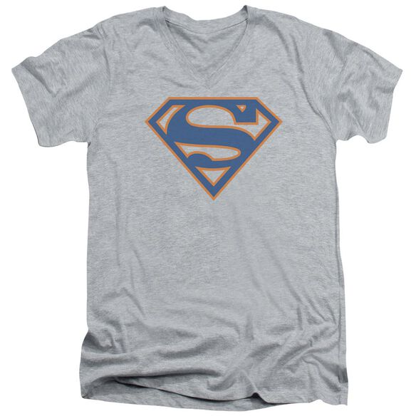 Superman Blue & Orange Shield Short Sleeve Adult V Neck Athletic T-Shirt