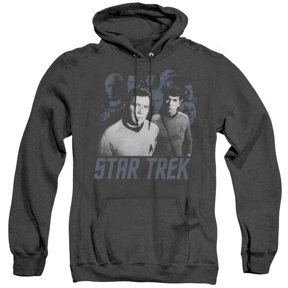 Star Trek Kirk Spock And Company - Adult Heather Hoodie - Black