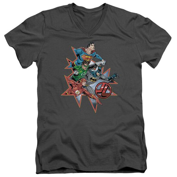 Jla Starburst Short Sleeve Adult V Neck T-Shirt