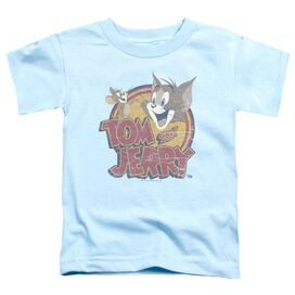 Tom And Jerry Water Damaged Short Sleeve Toddler Tee Light Blue T-Shirt