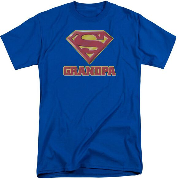 Superman Super Grandpa Short Sleeve Adult Tall Royal T-Shirt