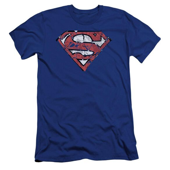 Superman Ripped And Shredded Premuim Canvas Adult Slim Fit Royal