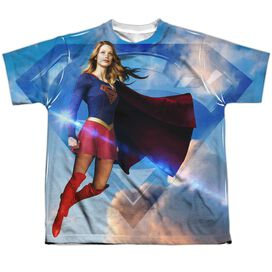 Supergirl Up In The Sky Short Sleeve Youth Poly Crew T-Shirt