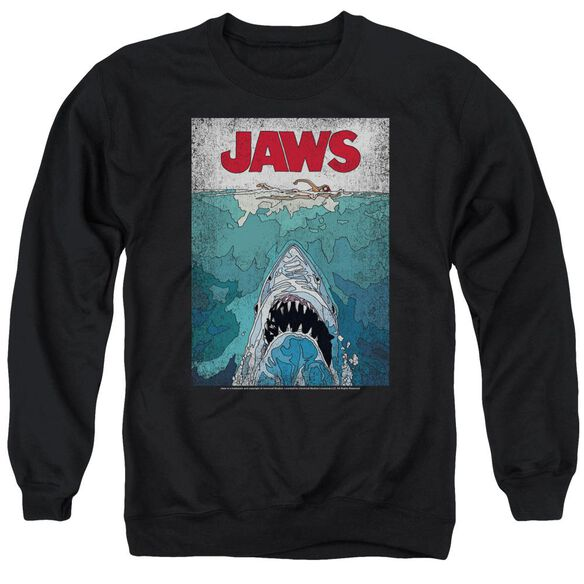 Jaws Lined Poster Adult Crewneck Sweatshirt