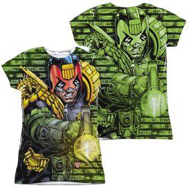 Judge Dredd Matrix (Front Back Print) Short Sleeve Junior Poly Crew T-Shirt