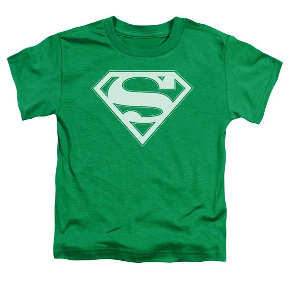 Superman Green & White Shield Short Sleeve Toddler Tee Kelly Green T-Shirt