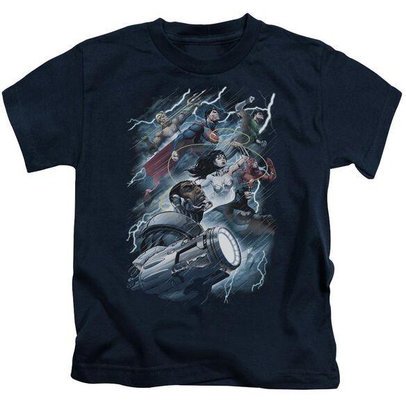 Jla Ride The Lightening Short Sleeve Juvenile Navy T-Shirt