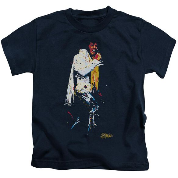 Elvis Yellow Scarf Short Sleeve Juvenile Navy T-Shirt