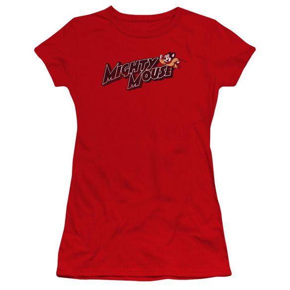 Mighty Mouse Might Logo Premium Bella Junior Sheer Jersey
