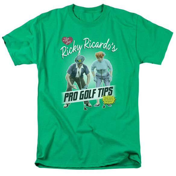 I Love Lucy Pro Golf Tips Short Sleeve Adult Kelly T-Shirt