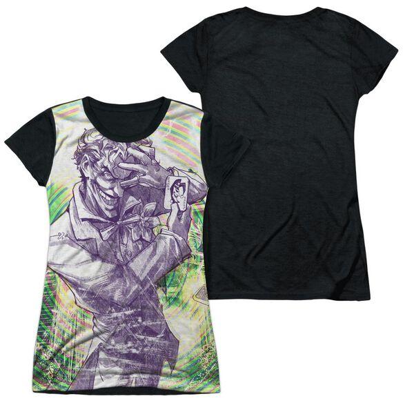Batman Mad Mad Swirl Short Sleeve Junior Poly Black Back T-Shirt