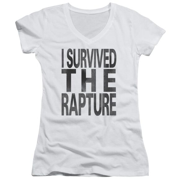 I Survived The Rapture Junior V Neck T-Shirt