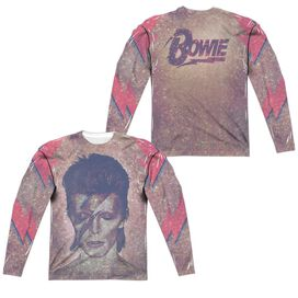 David Bowie Glam (Front Back Print) Long Sleeve Adult Poly Crew T-Shirt