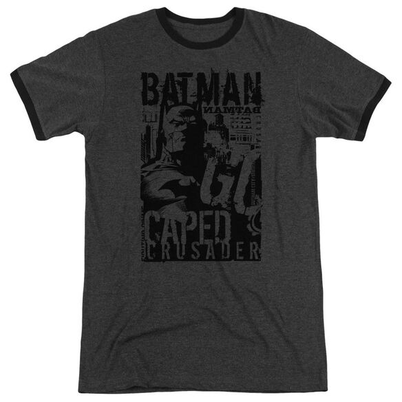 Batman Caped Crusader Adult Heather Ringer Charcoal