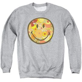 Smiley World Floral Face Adult Crewneck Sweatshirt Athletic