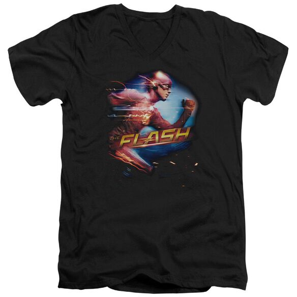 The Flash Fastest Man Short Sleeve Adult V Neck T-Shirt