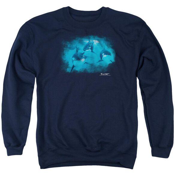 Wildlife Pod Of Orcas Adult Crewneck Sweatshirt