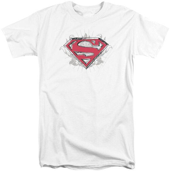 Superman Hastily Drawn Shield Short Sleeve Adult Tall T-Shirt