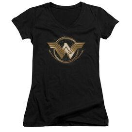 Wonder Woman Movie Lasso Logo Junior V Neck T-Shirt