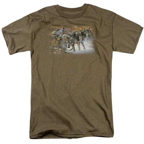 Wildlife Body Language Short Sleeve Adult Safari Green T-Shirt