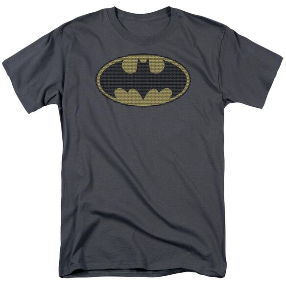 Batman Little Logos Short Sleeve Adult Charcoal T-Shirt