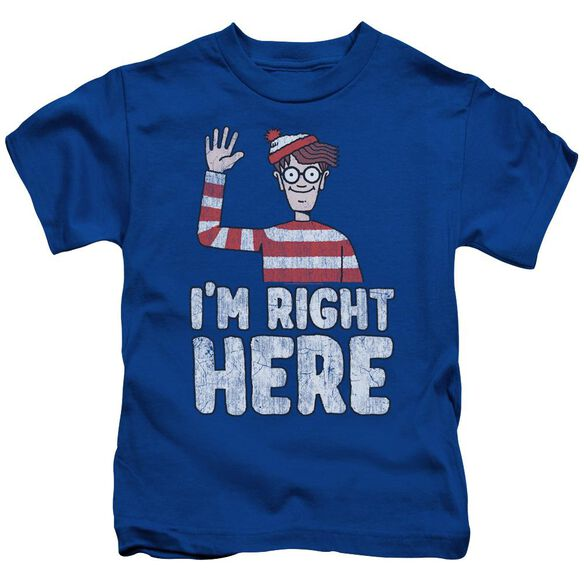 Wheres Waldo I'm Right Here Short Sleeve Juvenile Royal T-Shirt
