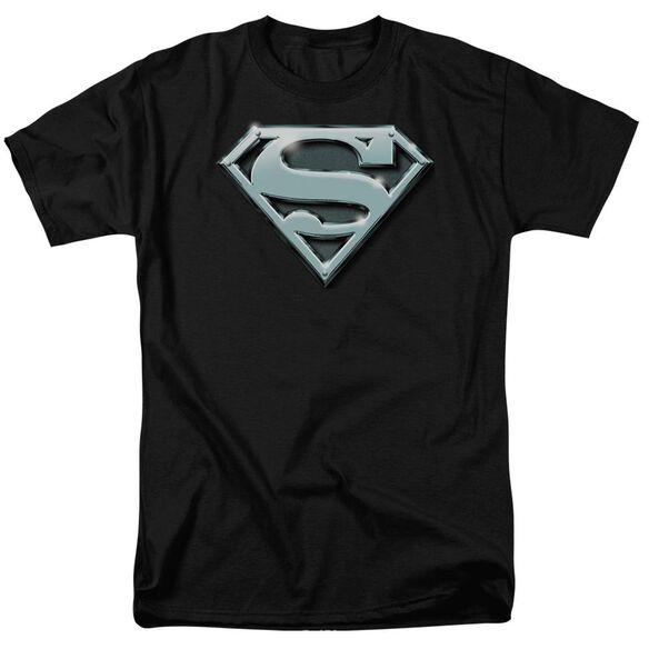 SUPERMAN CHROME SHIELD - S/S ADULT 18/1 - CHARCOAL T-Shirt