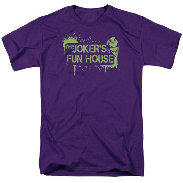 Arkham City Jokers Fun House Short Sleeve Adult Purple T-Shirt