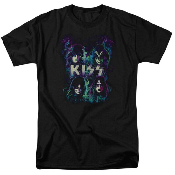 Kiss Colorful Fire Short Sleeve Adult T-Shirt