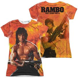 Rambo:First Blood Ii Fire (Front Back Print) Short Sleeve Junior Poly Crew T-Shirt
