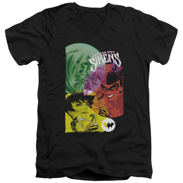 BATMAN GOTHAM SIRENS - S/S ADULT V-NECK - BLACK T-Shirt