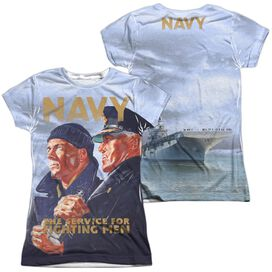 Navy Long Gaze (Front Back Print) Short Sleeve Junior Poly Crew T-Shirt
